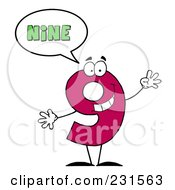 Royalty Free RF Clip Art Illustration Of A Number Nine Character Saying Nine by Hit Toon