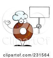 Royalty Free RF Clipart Illustration Of A Donut Character Wearing A Chef Hat And Holding A Blank Sign 1