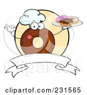 Royalty Free RF Clipart Illustration Of A Donut Character Wearing A Chef Hat And Serving Donuts Over A Blank Banner And Yellow Circle