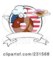 Royalty Free RF Clipart Illustration Of A Donut Character Wearing A Chef Hat And Serving Donuts Over A Blank Banner And American Circle