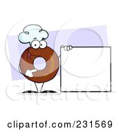 Royalty Free RF Clipart Illustration Of A Donut Character Wearing A Chef Hat And Standing By A Blank Sign 2