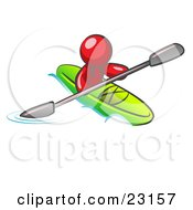 Clipart Illustration Of A Red Man Paddling Down A River In A Green Kayak