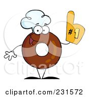 Royalty Free RF Clipart Illustration Of A Donut Character Wearing A Chef Hat And Wearing A Number One Glove 1
