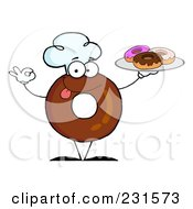 Royalty Free RF Clipart Illustration Of A Donut Character Wearing A Chef Hat And Serving Donuts 1