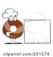 Royalty Free RF Clipart Illustration Of A Donut Character Wearing A Chef Hat And Standing By A Blank Sign 1