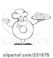 Royalty Free RF Clipart Illustration Of A Coloring Page Outline Of A Donut Character Wearing A Chef Hat And Serving Donuts