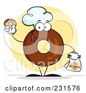 Royalty Free RF Clipart Illustration Of A Donut Character Wearing A Chef Hat And Holding A Donut 2