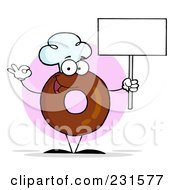 Royalty Free RF Clipart Illustration Of A Donut Character Wearing A Chef Hat And Holding A Blank Sign 2