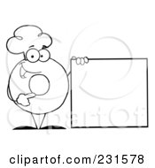Royalty Free RF Clipart Illustration Of A Coloring Page Outline Of A Donut Character Wearing A Chef Hat And Standing By A Blank Sign
