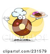 Royalty Free RF Clipart Illustration Of A Donut Character Wearing A Chef Hat And Serving Donuts 2