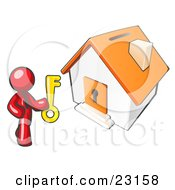 Clipart Illustration Of A Red Businessman Holding A Skeleton Key And Standing In Front Of A House With A Coin Slot And Keyhole