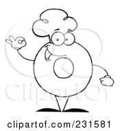 Royalty Free RF Clipart Illustration Of A Coloring Page Outline Of A Donut Character Wearing A Chef Hat And Gesturing Ok
