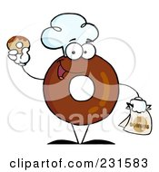 Royalty Free RF Clipart Illustration Of A Donut Character Wearing A Chef Hat And Holding A Donut 1