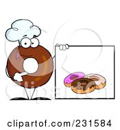 Royalty Free RF Clipart Illustration Of A Donut Character Wearing A Chef Hat And Standing By A Blank Sign 3