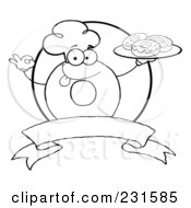 Royalty Free RF Clipart Illustration Of An Outline Of A Donut Character Wearing A Chef Hat And Serving Donuts Over A Blank Banner And Circle