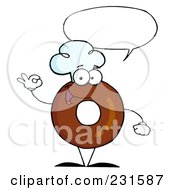 Royalty Free RF Clipart Illustration Of A Donut Character Wearing A Chef Hat And Gesturing Ok 3