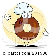 Royalty Free RF Clipart Illustration Of A Donut Character Wearing A Chef Hat And Gesturing Ok 2