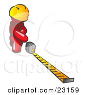 Clipart Illustration Of A Red Man Contractor Wearing A Hardhat Kneeling And Measuring
