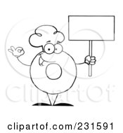 Royalty Free RF Clipart Illustration Of A Coloring Page Outline Of A Donut Character Wearing A Chef Hat And Holding A Blank Sign