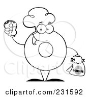 Royalty Free RF Clipart Illustration Of A Coloring Page Outline Of A Donut Character Wearing A Chef Hat And Holding A Donut