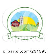 Royalty Free RF Clipart Illustration Of Farmland With A Blank Banner by Hit Toon