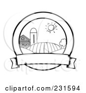 Royalty Free RF Clipart Illustration Of A Coloring Page Outline Of Farmland With A Blank Banner