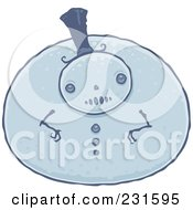 Very Pudgy Blue Snowman Wearing A Top Hat