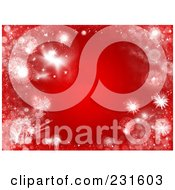 Red Christmas Background Of White Frost And Glitter