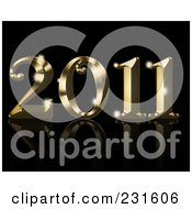 Royalty Free RF Clipart Illustration Of A Shiny Golden 2011 On A Reflective Black Background by KJ Pargeter