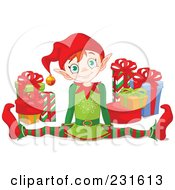 Royalty Free RF Clipart Illustration Of A Happy Christmas Elf Doing The Splits By Gifts by Pushkin