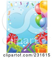 Royalty Free RF Clipart Illustration Of A Party Border Of Presents Ribbons And Balloons Over Blue