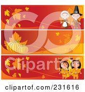 Royalty Free RF Clipart Illustration Of A Digital Collage Of Red And Orange Thanksgiving Website Banners by Pushkin