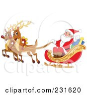 Royalty Free RF Clipart Illustration Of Santas Magic Reindeer And Sleigh Flying