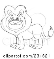 Royalty Free RF Clipart Illustration Of A Coloring Page Outline Of A Happy Lion by yayayoyo
