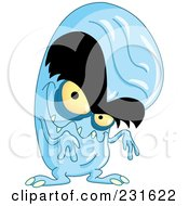 Royalty Free RF Clipart Illustration Of A Bald Blue Monster With Big Eyebrows by yayayoyo
