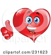 Happy Red Heart Guy With A Thumb Up