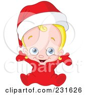 Royalty Free RF Clipart Illustration Of A Cute Christmas Baby In A Santa Hat by yayayoyo