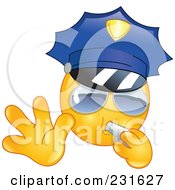 Royalty Free RF Clipart Illustration Of A Police Emoticon Blowing A Whistle