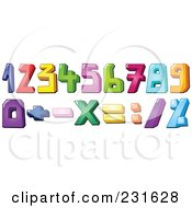 Digital Collage Of Colorful Number And Math Symbols