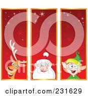 Digital Collage Of Red Reindeer Santa And Christmas Elf Banners