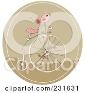 Pink Bird On A Retro Penny Farthing Bicycle In A Brown Circle