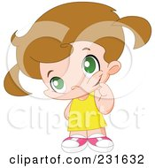 Royalty Free RF Clipart Illustration Of A Cute Little Girl In Thought by yayayoyo