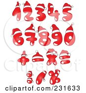 Royalty Free RF Clipart Illustration Of A Digital Collage Of Red Christmas Numbers Wearing Santa Hats by yayayoyo