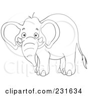 Royalty Free RF Clipart Illustration Of A Coloring Page Outline Of A Grinning Elephant by yayayoyo