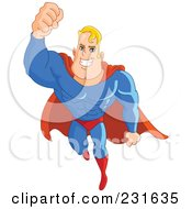 Royalty Free RF Clipart Illustration Of A Flying Strong Blond Male Super Hero by yayayoyo