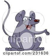 Royalty Free RF Clipart Illustration Of A Friendly Gray Mouse Presenting by yayayoyo