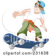 Teen Boy On A Blue Skateboard