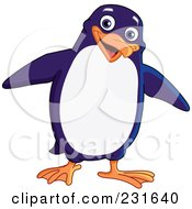Royalty Free RF Clipart Illustration Of A Happy Blue And White Penguin by yayayoyo