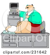 Royalty Free RF Clipart Illustration Of A Doctor Giving Santa An Ultrasound On His Belly by Dennis Cox