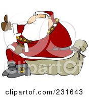 Royalty Free RF Clipart Illustration Of Santa Sitting On His Sack And Hitchhiking by djart